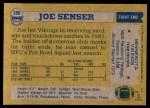 1982 Topps #398  Joe Senser  Back Thumbnail