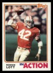 1982 Topps #487   -  Ronnie Lott In Action Front Thumbnail