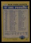 1982 Topps #415   Giants Leaders Back Thumbnail