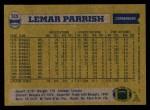 1982 Topps #519  Lemar Parrish  Back Thumbnail
