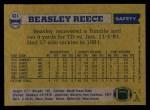 1982 Topps #431  Beasley Reece  Back Thumbnail