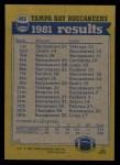 1982 Topps #495   Buccaneers Leaders Back Thumbnail