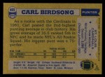 1982 Topps #465  Carl Birdsong  Back Thumbnail