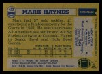 1982 Topps #422  Mark Haynes  Back Thumbnail