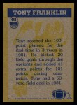 1982 Topps #444   -  Tony Franklin In Action Back Thumbnail