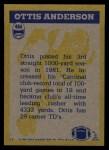1982 Topps #464   -  Ottis Anderson In Action Back Thumbnail