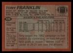 1983 Topps #139  Tony Franklin  Back Thumbnail
