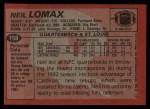 1983 Topps #158  Neil Lomax  Back Thumbnail