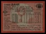 1983 Topps #296  Chris Bahr  Back Thumbnail