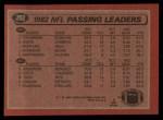 1983 Topps #202   -  Joe Theismann / Ken Anderson Passing Leaders Back Thumbnail