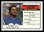 1983 Topps #208   Colts Leaders Front Thumbnail