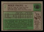 1984 Topps #18  Mike Pagel  Back Thumbnail