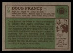 1984 Topps #79  Doug France  Back Thumbnail