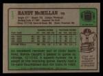 1984 Topps #17  Randy McMillan  Back Thumbnail