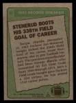 1984 Topps #6   -  Jan Stenerud Record Breaker Back Thumbnail