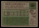 1984 Topps #132  Rich Camarillo  Back Thumbnail