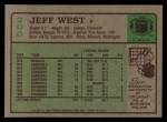 1984 Topps #200  Jeff West  Back Thumbnail