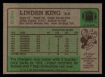 1984 Topps #182  Linden King  Back Thumbnail