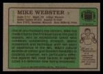 1984 Topps #171  Mike Webster  Back Thumbnail