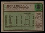 1984 Topps #296  Benny Ricardo  Back Thumbnail