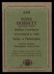 1984 Topps #239   -  Tony Dorsett Instant Reply Back Thumbnail
