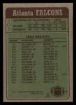 1984 Topps #208   Falcons Leaders Back Thumbnail
