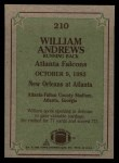 1984 Topps #210   -  William Andrews Instant Reply Back Thumbnail