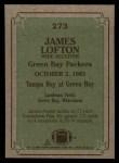 1984 Topps #273   -  James Lofton Instant Reply Back Thumbnail