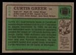 1984 Topps #344  Curtis Greer  Back Thumbnail