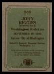 1984 Topps #389   -  John Riggins Instant Reply Back Thumbnail