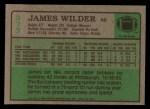 1984 Topps #373  James Wilder  Back Thumbnail