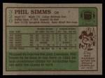 1984 Topps #320  Phil Simms  Back Thumbnail