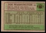 1984 Topps #393  Joe Washington  Back Thumbnail