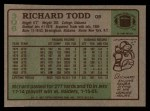 1984 Topps #306  Richard Todd  Back Thumbnail