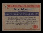 1985 Topps #4   -  Dan Marino Record Breaker Back Thumbnail
