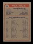1985 Topps #89   Vikings Leaders Back Thumbnail