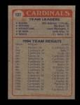 1985 Topps #137   Cardinals Leaders Back Thumbnail
