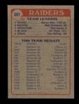 1985 Topps #281   Raiders Leaders Back Thumbnail