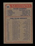1985 Topps #380   Seahawks Leaders Back Thumbnail