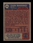 1985 Topps #314  Dan Marino  Back Thumbnail