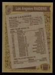 1986 Topps #60   Raiders Leaders Back Thumbnail