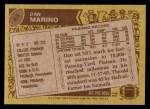 1986 Topps #45  Dan Marino  Back Thumbnail