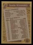 1986 Topps #200   Seahawks Leaders Back Thumbnail