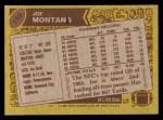 1986 Topps #156  Joe Montana  Back Thumbnail
