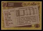 1986 Topps #168  Ronnie Lott  Back Thumbnail