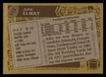 1986 Topps #112  John Elway  Back Thumbnail