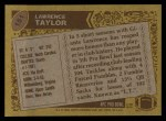 1986 Topps #151  Lawrence Taylor  Back Thumbnail