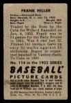 1952 Bowman #114  Frank Hiller  Back Thumbnail