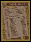1986 Topps #383   Bills Leaders Back Thumbnail