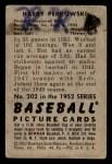 1952 Bowman #202  Harry Perkowski  Back Thumbnail